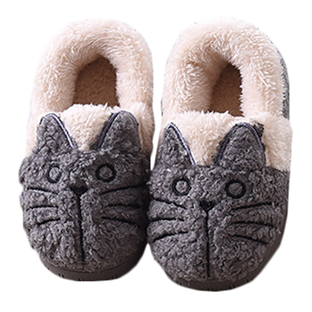 JadeRich Unisex Cat Pattern Plush Warm House Boot Slippers