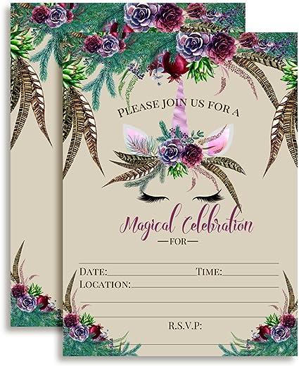 UNICORN BIRTHDAY PARTY GOLD GLITTER PERSONALISED INVITATION INVITES BOHO FLORAL
