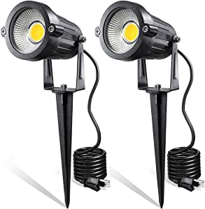 LED Landscape Lights,5W 120V AC Outdoor Pathway Garden Yard Spotlight,IP65 Waterproof Garden Flood Light,Outdoor Spotlight with Stake,UL Cord 5-ft with Plug (Pack of 2, Warm White)