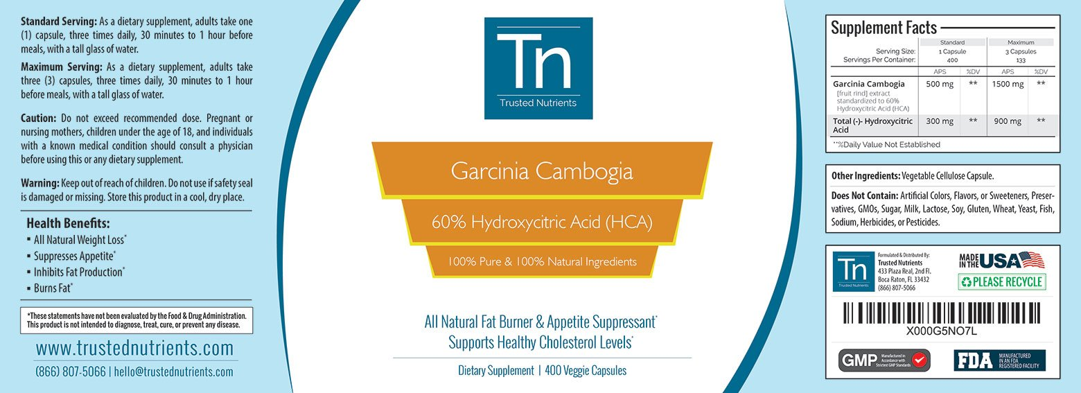 Trusted Nutrients 100% Pure, 60% HCA Garcinia Cambogia Extract: 400 Count - 500mg per Capsule by Trusted Nutrients (Image #5)