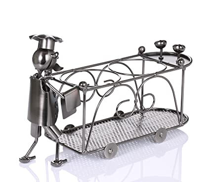 ZOVIE Retro moderna decoración del hogar de hierro forjado camarero comedor carro carrito 2 botella de