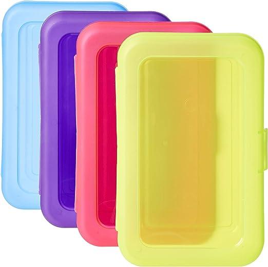 AmazonBasics Estuche, paquete de 4, multicolor: Amazon.es: Oficina y papelería