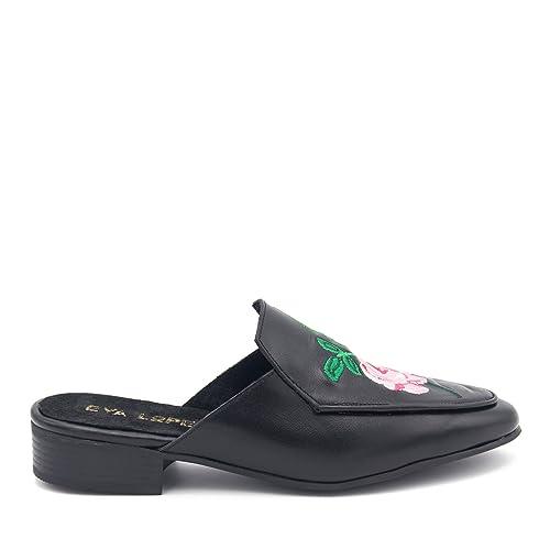 Eva López Shoes Mocasines Negros Destalonados Mujer con Bordado de Piel: Amazon.es: Zapatos y complementos