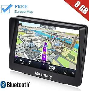 Mksutary GPS para Coche de 7 Pulgadas Pantalla con Bluetooth, Gratis de Mapa de Europa Toda la Vida GPS para Camiones: Amazon.es: Electrónica