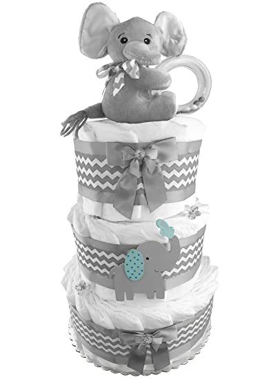 Amazoncom Elephant 3 Tier Diaper Cake Baby Shower Gift Gender
