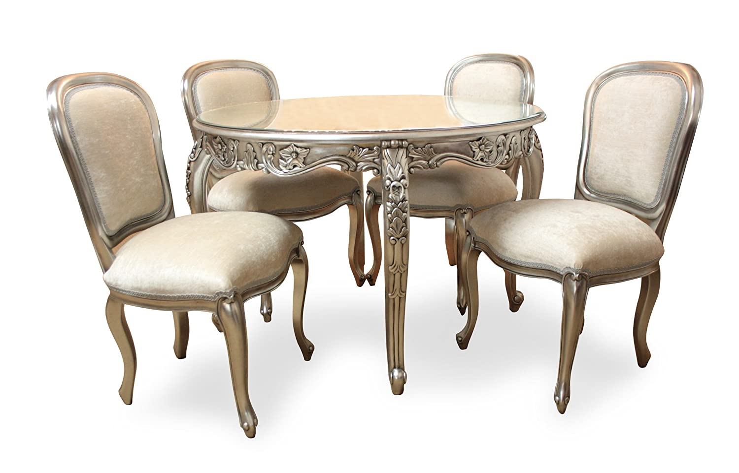 French furniture uk - French Style Furniture Carved Round Dining Table And 4 Chairs Silver Amazon Co Uk Kitchen Home