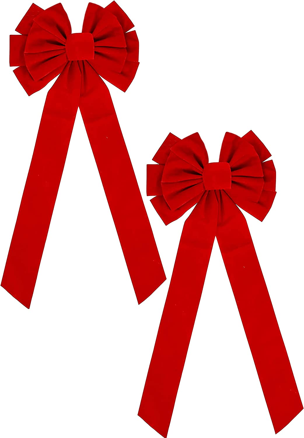 """Black Duck Brand 12-Loop Giant Jumbo 42"""" x 16"""" Red Velvet Christmas Holiday Decor Bows for Front Doors, Garage Doors, Fences, and More! (Red w/Glitter, 2 Pack)"""