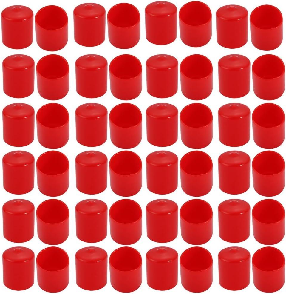 uxcell 50Pcs 21mm Inner Dia PVC Flexible Vinyl End Cap Screw Thread Protector Cover Red