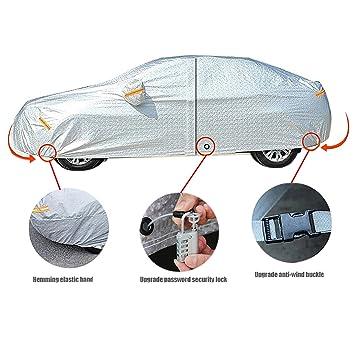Amazon.es: Freesoo Funda para coche FUNDA PROTECTORA CUBIERTA COCHE IMPERMEABLE con banda reflectante protector solar lluvia cubierta completa con bloqueo ...