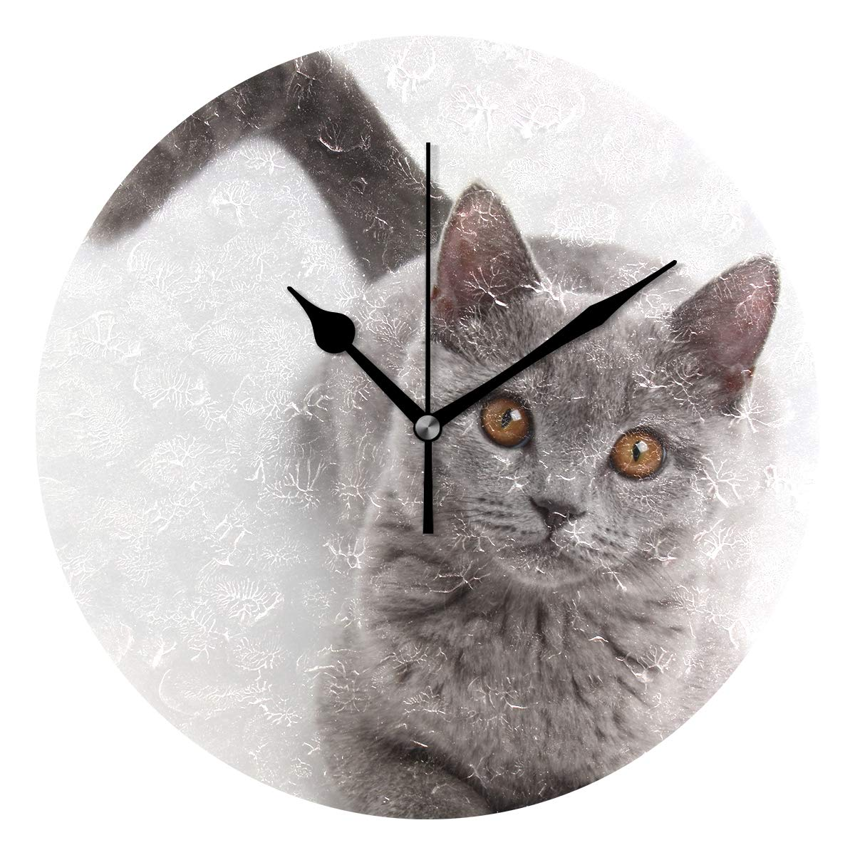 Amazon.com: Amehome Dumbfounded Cat Round Acrylic Wall Clock Non Ticking Silent Clock Art for Living Room Kitchen Bedroom: Home & Kitchen