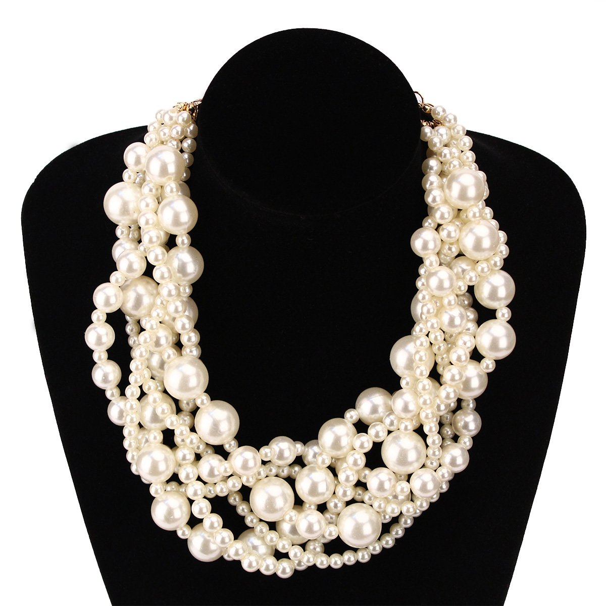MeliMe Womens Imitation Pearl Twisty Chunky Bib Necklace Chokers for Wedding Party Melime Top AE82-AE83