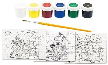 Pinsel /& Farben   Malen Puzzle 6 x Malpuzzle
