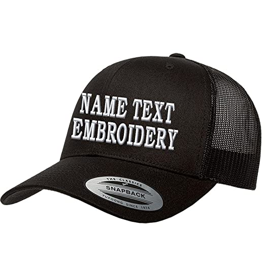 91c4b0d8b03 Custom Embroidered Snapback Hat Personalized Yupoong Embroidery Trucker Cap  - Black