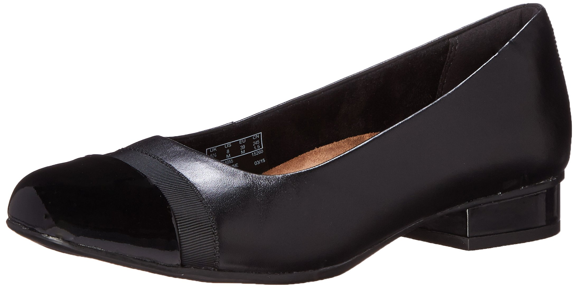 CLARKS Women's Keesha Rosa Shoe, Black Leather, 7 Medium US