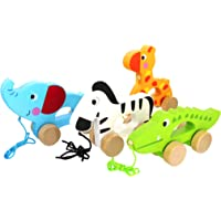 Pidoko Kids Pull Along Walking Toys - 4 Animals Gift Set for Toddlers Boys and Girls