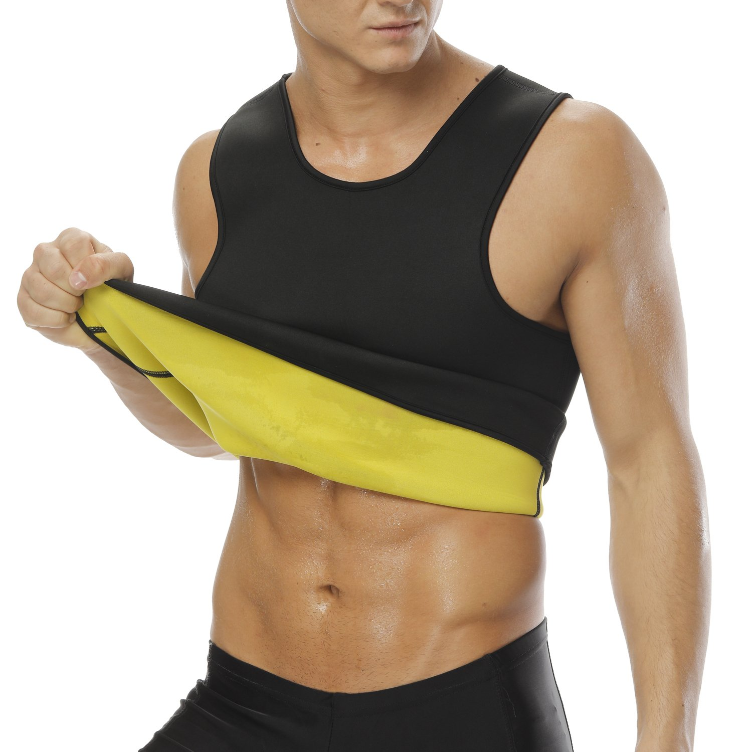 35151fd71b1 Men s Hot Sweat Slimming Neoprene Shirt Vest Body Shapers For Weight Loss  No Zipper Black  Amazon.com.au  Fashion