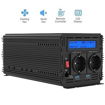 EDECOA inversor 12v 220v onda pura 1500w transformador de ...