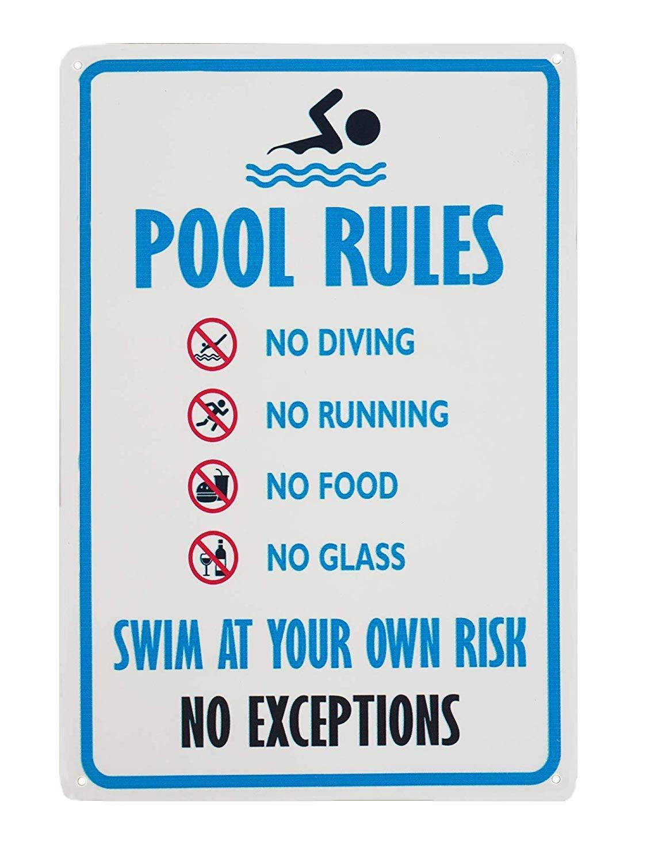 Amazon.com: Topfines - Señal de reglas de piscina, sin buceo ...