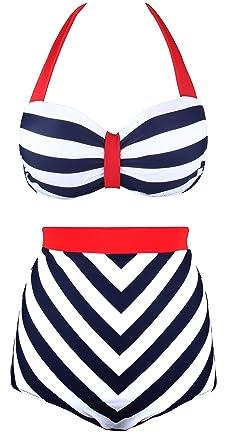 ca203cb9af29e Angerella Retro Vintage Navy Style Two Piece Swimwear Swimsuit (BKI034-N1-4XL)