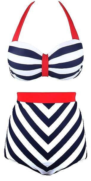 Angerella Retro 50s Negro Raya Cintura Alta Bikini Traje de baño