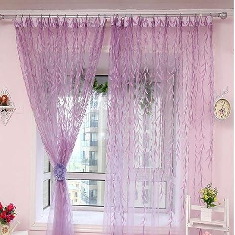 DZT1968® 1PC Willow Floral Design Tulle Window Door Screen Curtain (40 X 80)