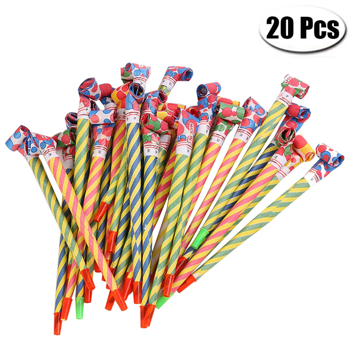 PartyYeah 20 Pcs Extra Long 8.1Inch Funny Paper Party Blowouts Blowers-Noisemakers Whistles for New Year Party Birthday in Random Colors, Multicolored Funny Party Supplies