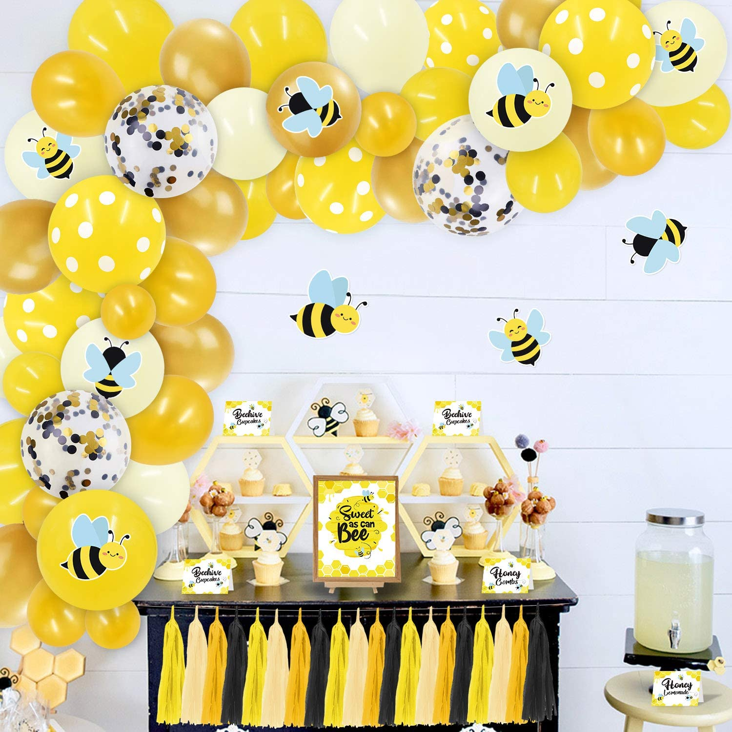 Bee Baby Shower Party Decor(138pcs)with Food Labels,Bee Bar Sign,Thank You Tags,Tissue Paper Tassels,Cardstock Stickers,Balloon Garland for Bumblebee Theme Mommy to Bee What Will It Bee Baby Shower