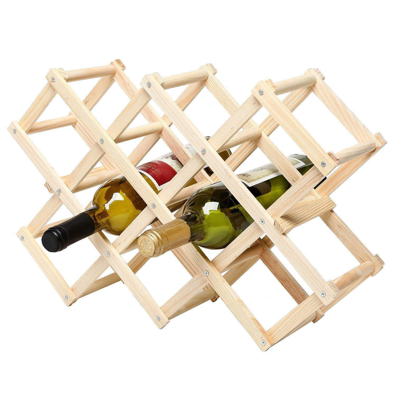 Foldable Wood Wine Rack Wine Holder Storage Display Stand Wood 10-Bottle Wine Rack (Fire Color)