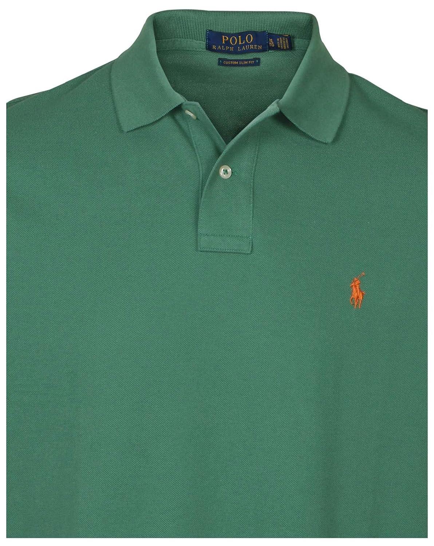 81b3ebab POLO RALPH LAUREN Men Custom Fit Mesh Pony Logo Shirt (X-Large, Green  (Orange Pony))