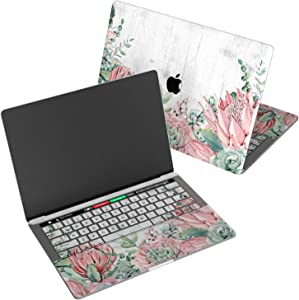 "Wonder Wild Skin for MacBook Decal Vinyl Air 11 inch Apple Mac 13 Retina 12 Pro 15 Keyboard 2019 2018 2017 2016 16"" Protective Sticker Laptop Succulent Flower White Wood Pastel Cactus Tropical Floral"