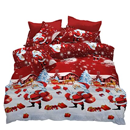 3D Merry Christmas Santa Claus Bedding Set Duvet Cover Quilt Cover Pillowcases