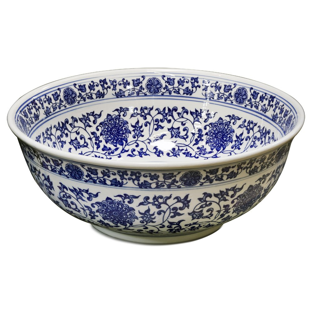 China Furniture Online Porcelain Basin Bowl with Blue and White Chinoiserie Design
