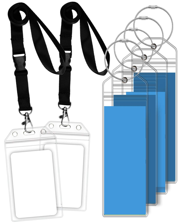 Greatshield Porte-/étiquettes de Bagages et Porte-Badges didentification de croisi/ère 4 Porte-/étiquettes de Bagages//2 Porte-Badges didentification Boucles en Acier pour Royal Caribbean//Celebrity