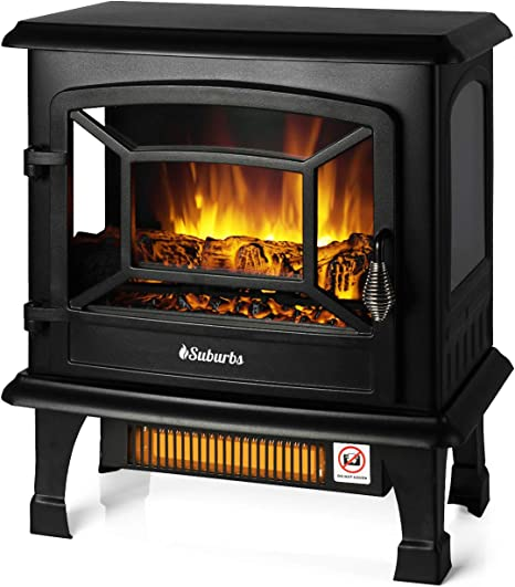 Turbro Suburbs 20 1400w Electric Fireplace Stove Csa Certified Freestanding Heater With Realistic Log Flame Effect Black Amazon Ca Home Kitchen