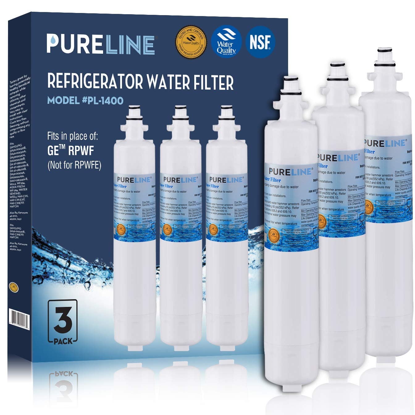 GE RPWF (Not RPWFE) Fast Flow Compatible Water Filter Replacement For GE RPWF (Not Compatible With RPWFE) WSG-4 Refrigerator Water Filter By Pure Line (1 PACK)