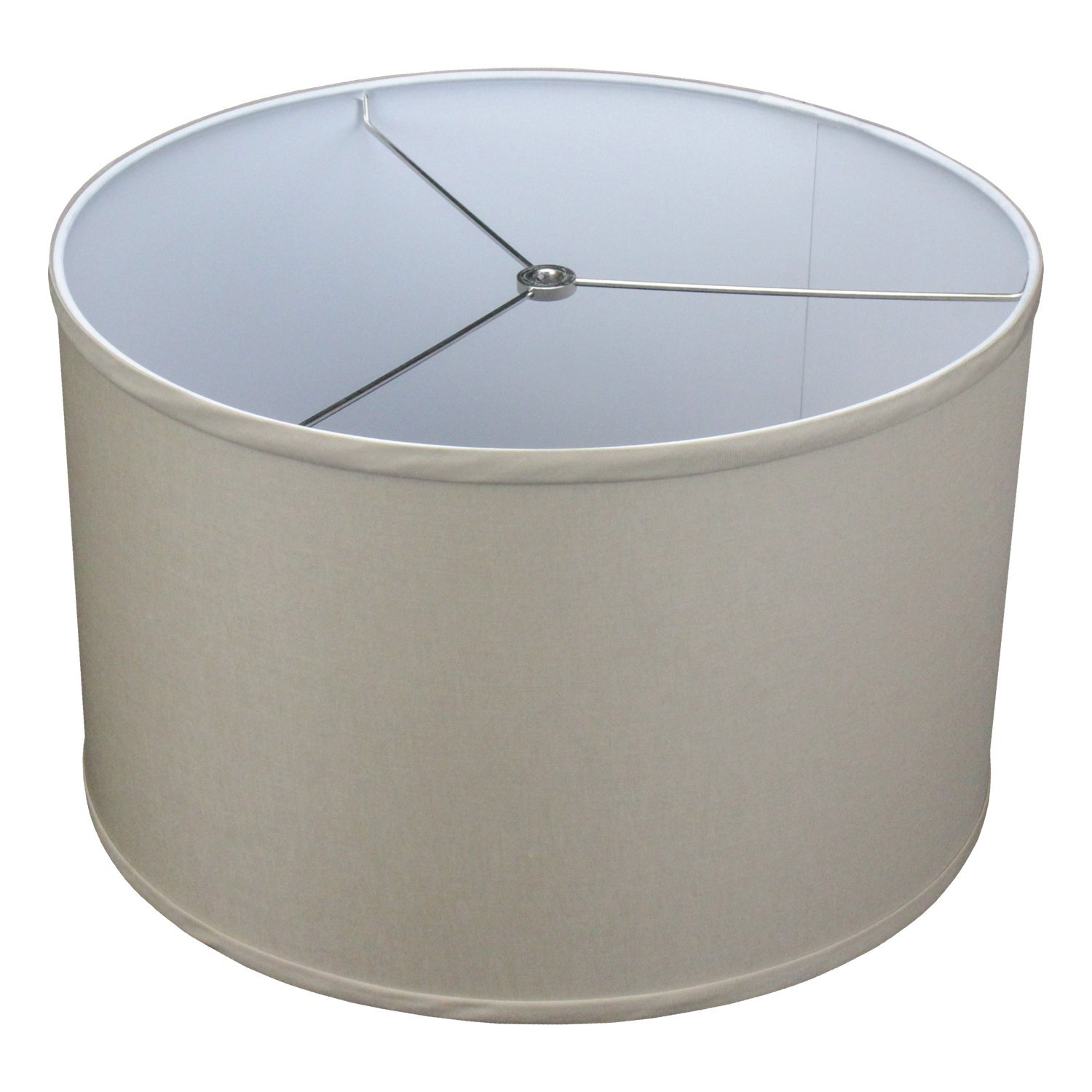 FenchelShades.com 16'' Top Diameter x 16'' Bottom Diameter 11'' Height Cylinder Drum Lampshade USA Made (Stone)