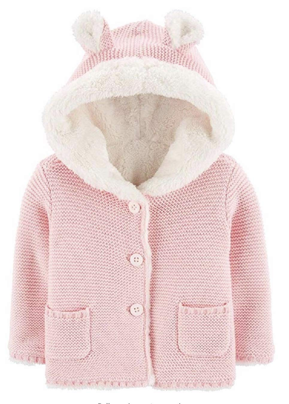 Carter's Baby Hooded Cardigan with Sherpa Lining with 3D Ear Size 12 Months Pink