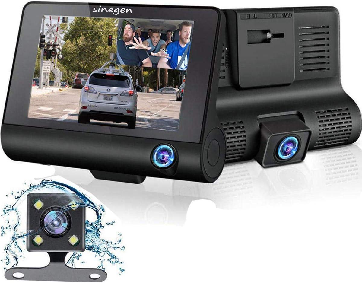 Sinegen Dash Camera 1080P 4 LCD Screen 3 Lens Car DVR Dashboard Camera 170 Wide Angle, Night Vision, WDR, G-Sensor, Loop Recording and Motion Detection – No SD Card