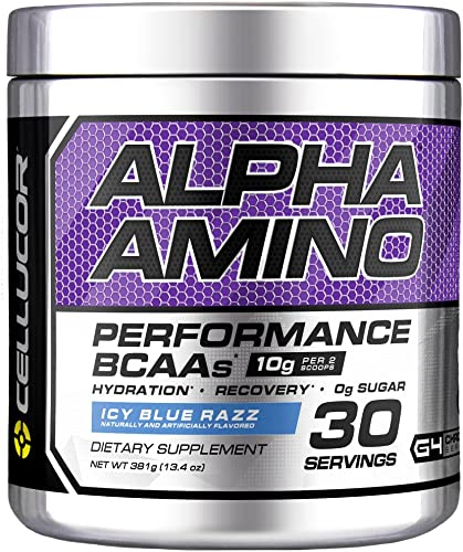 Cellucor Alpha Amino EAA BCAA Powder Branched Chain Essential Amino Acids Electrolytes Icy Blue Razz 30 Servings