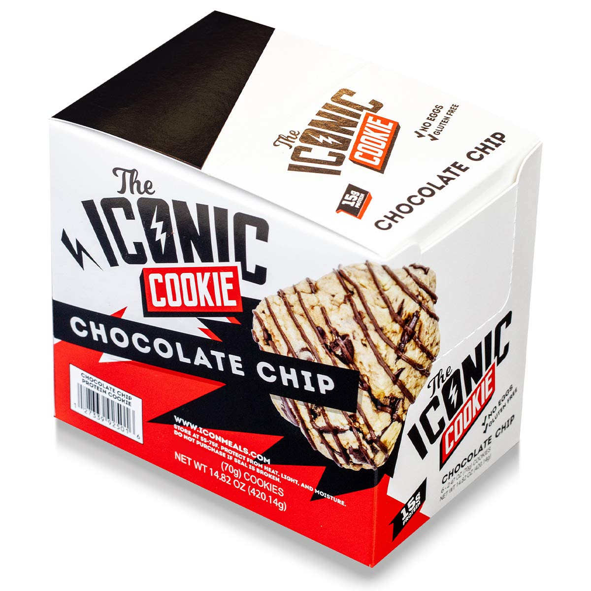 ICON Meals Protein Cookie | The Iconic Cookie | No Eggs, Gluten Free & 15g Protein | 6 Cookies (Chocolate Chip Cookie)