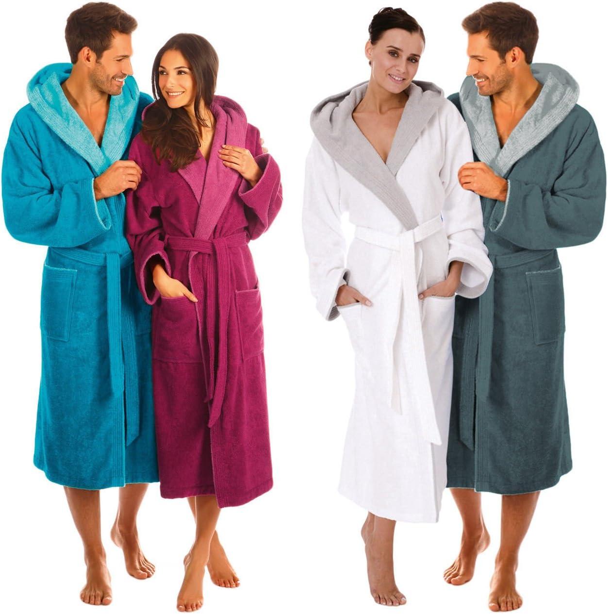 s Egeria CAIRO Accappatoio unisex con cappuccio per uomo e donna 001//020 bianco//grigio