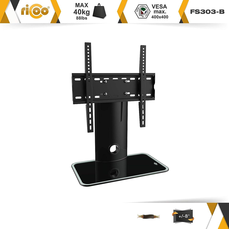 RICOO Estante TV LED pie de Vidrio Soporte FS303B Estante Television LED Pantalla Plana Aplique Mueble Estante VESA 400x400 Universal con portaobjeto para ...