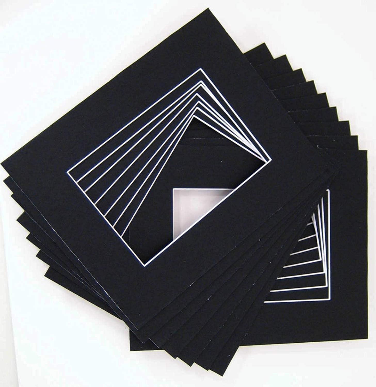 10 of 18x24 Black Pre-Cut Acid-Free whitecore mat for 12x18 + Back+Bag