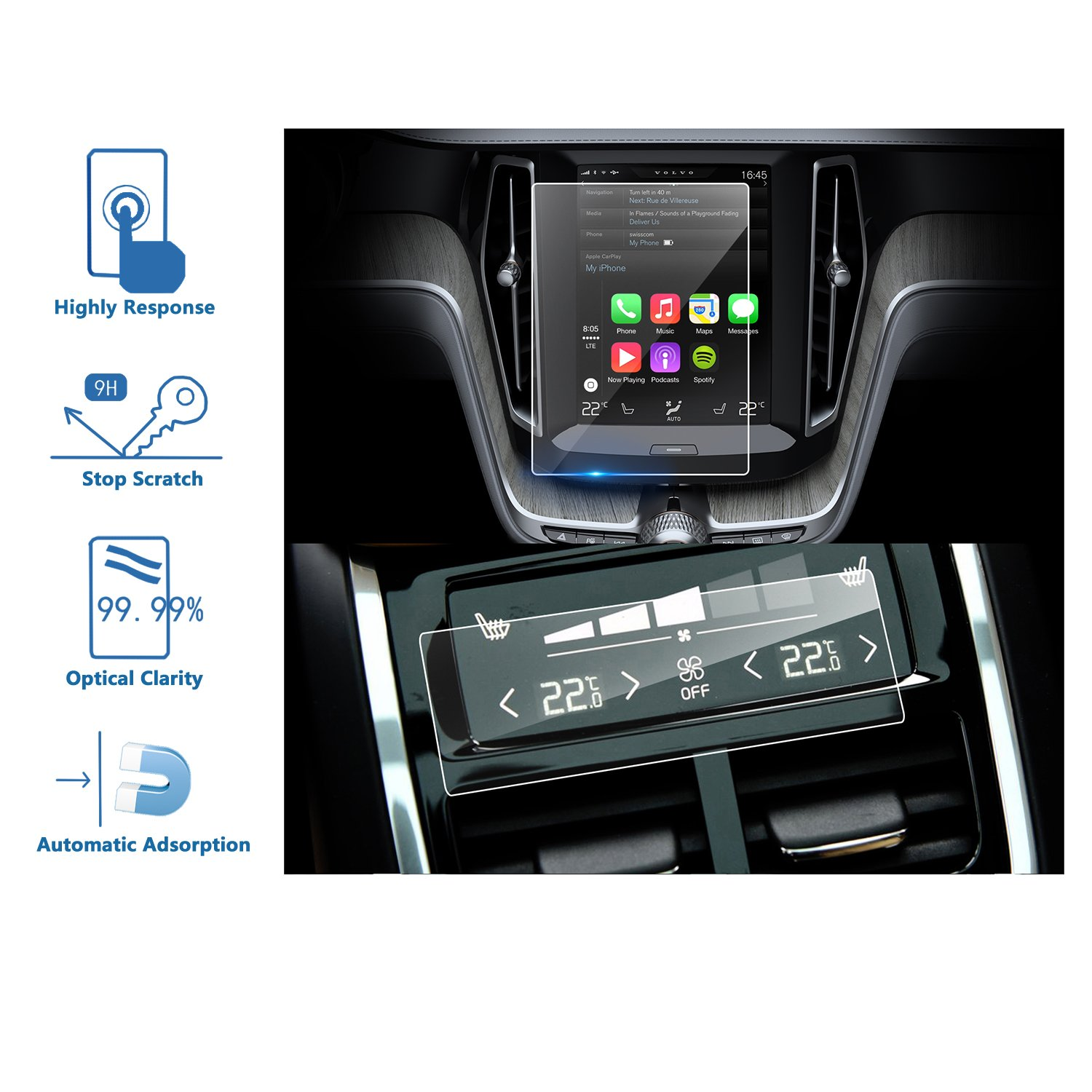 LFOTPP Volvo XC60 2018 2PCS Car Navigation and Air Conditioning Display Screen Protector, Clear Tempered Glass Center Touch Screen Protector Against Scratch High Clarity