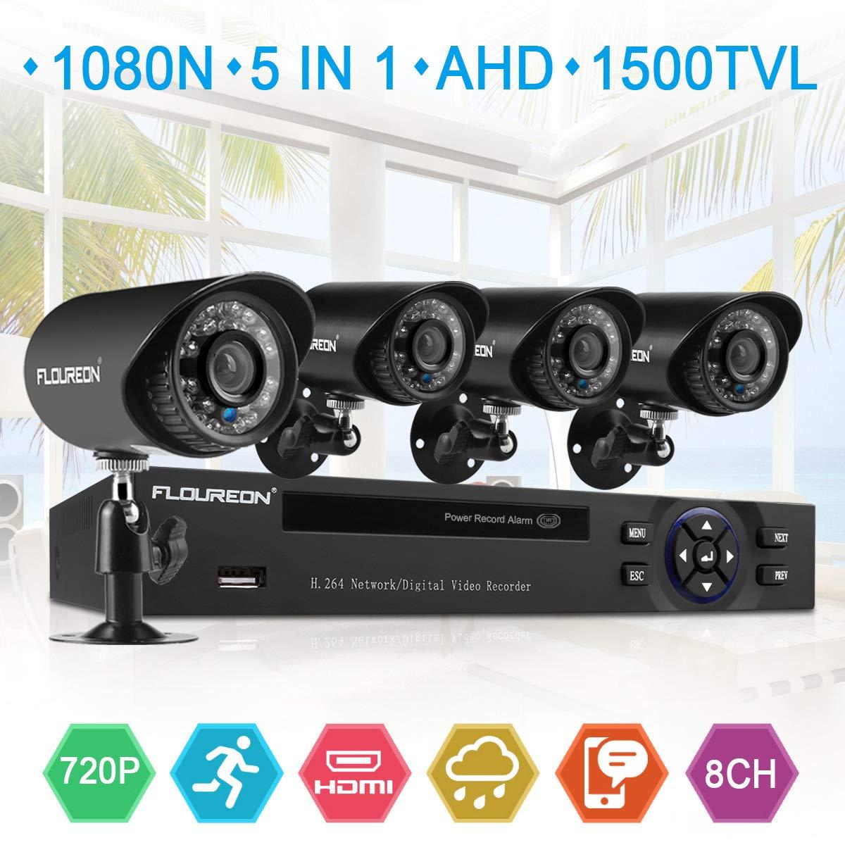 FLOUREON House Security Camera System 1080N DVR + 4 Pack 1.0MP CMOS Lens CCTV Security Camera 1500TVL Night Vision Remote Access Motion Detection (8CH+ 4X 1500TVL Camera) by floureon