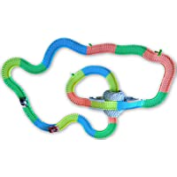 373pcs Glow-in-the-Dark Speedway Tracks Mega set with 2 LED Race Car, 18 ft. 360 pcs Race Tracks , Mountain Tunnel and Arch Fitting for Unlimited custom trace building and high-speed chasing & thrills