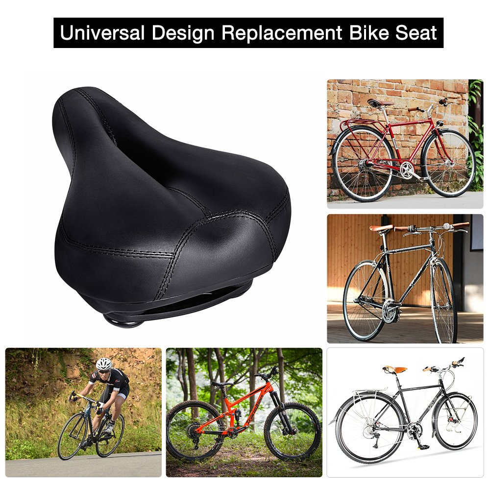 Bicycle Seats Comfort Artificial Leather Bike Seat Gel, 10.6'' x 8.25 '', Tonbux Bike Seat Replacement with Bicycle Reflective Tape Dual Shock Absorbing Ball with Mounting Wrench-Black by TONBUX (Image #3)