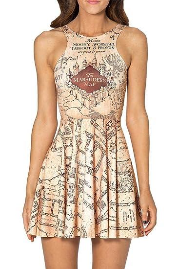Marauders Map Dress Mosszra Women Marauders Map Print Knee Length Pleated Skater Dress