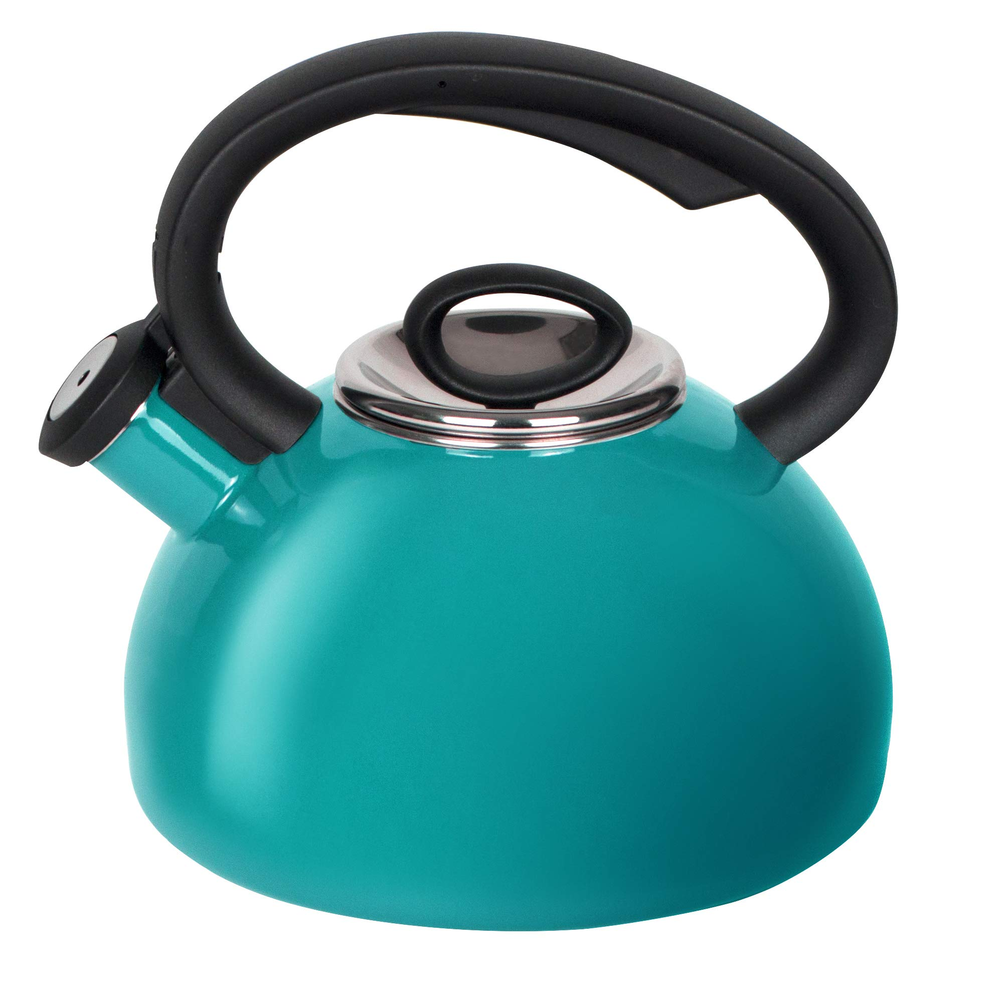 Whistling Tea Kettles, AIDEA 2 Quart Ceramic Tea Kettle for Stovetop Induction, Enameled Interior Tea Pot for Anti-Rust, Audible Whistling Hot Water Kettle for Kitchen, Porcelain Tea Kettle -Turquoise by AIDEA