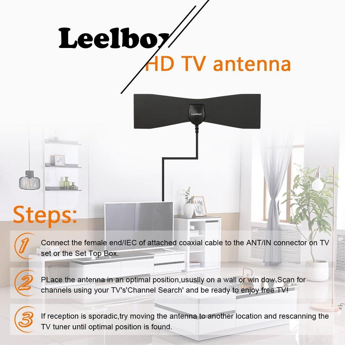 Leelbox Antena Interior HDTV HD TDT DVB-T y DVB-T2 TV Antena. Mayor Rango de Recepción de 40kM, con Largo Cable de 3Metros/10FT. Digital y Señal Antena de TV, UHF/VHF Materiales Superiores del